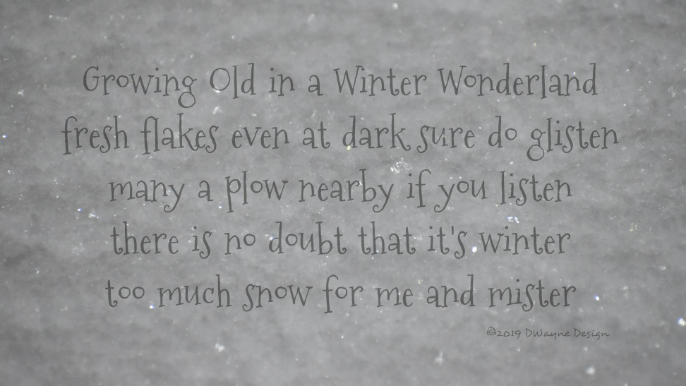 Growing Old in a Winter Wonderland | fresh flakes even at dark sure do glisten | many a plow nearby if you listen | there is no doubt that it's winter | too much snow for me and mister