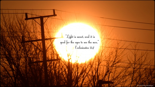 """""""Light is sweet, and it is good for the eyes to see the sun."""" - Ecclesiastes 11:7"""
